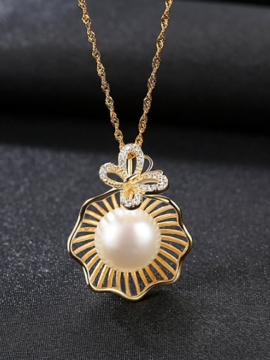 Pure Silver Natural Freshwater Pearl plated 18K gold necklace
