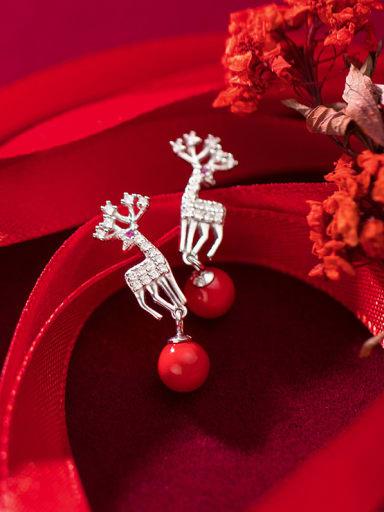 925 Sterling Silver With Cubic Zirconia Cute Elk Animal Drop Earrings