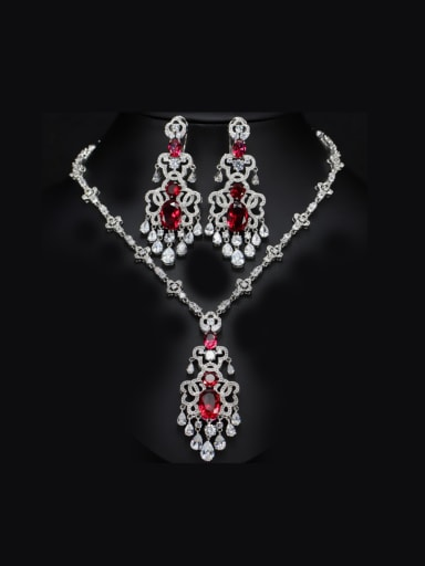Exaggerate Zircon Two Pieces Jewelry Set