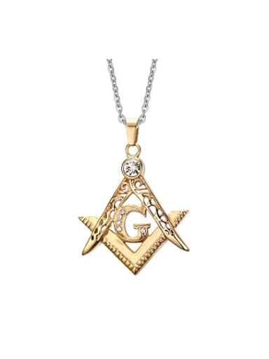 Exquisite Gold Plated Geometric Shaped Rhinestone Titanium Pendant