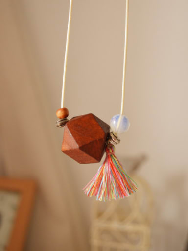 Wooden Geometric Shaped Tassels Necklace