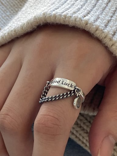925 Sterling Silver With Antique Silver Plated Simplistic Geometric Alphabet Smiley  fFree Size Rings