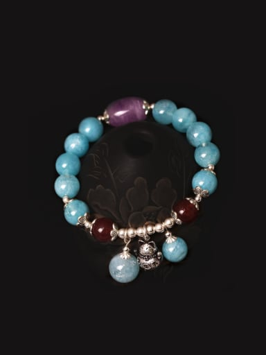 Ccreative Fortune Cat  Aquamarine Bracelet