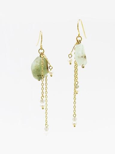 Elegant Green Natural Stone Line Earrings