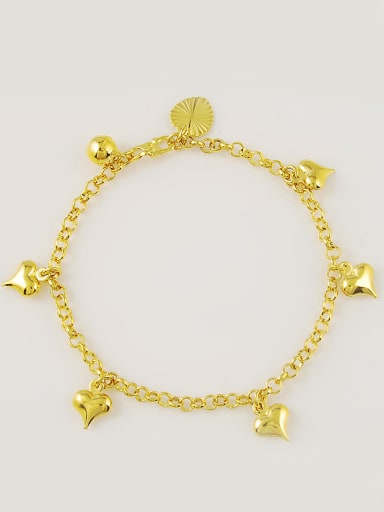 Fashionable 24K Gold Plated Heart Shaped Copper Bracelet