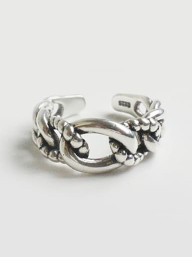 Personalized Twisted Chain Silver Opening Ring