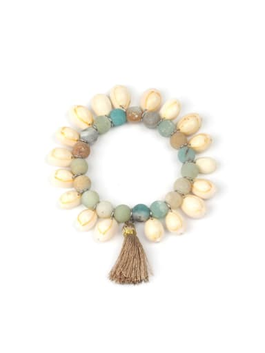 Wood Beads Natural Stones Conch Shell Bracelet