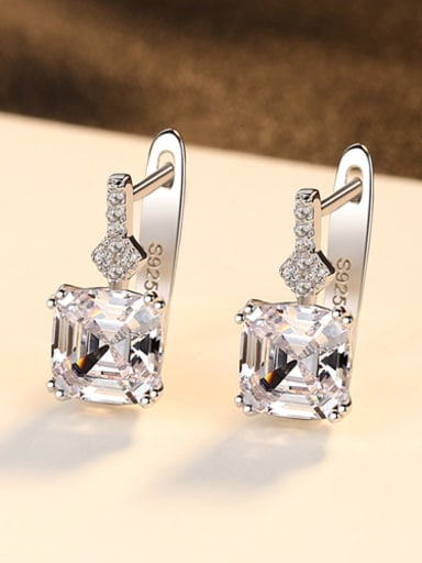 Sterling silver shining semi-precious stones stud earrings