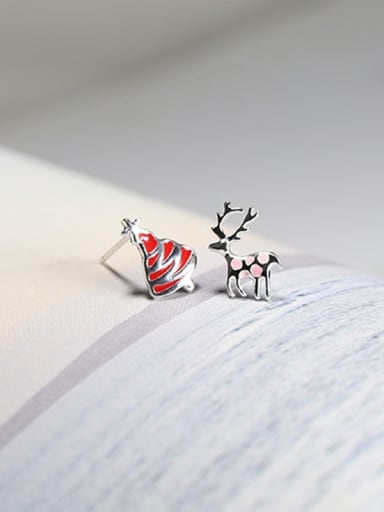 Tiny Christmas Tree Deer Asymmetrical 925 Silver Stud Earrings