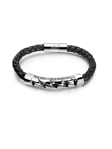 Stainless Steel With Platinum Plated Simplistic Round Bracelets