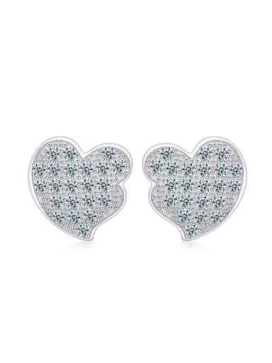 Birthday Gift Heart Stud Earrings with zircons