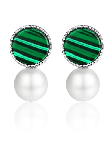 925 Sterling Silver With  Artificial Pearl Fashion Round Stud Earrings