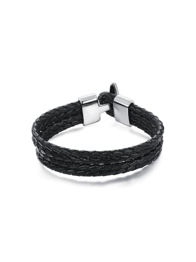 Simple Four-band Woven Black Artificial Leather Titanium Men Bracelet