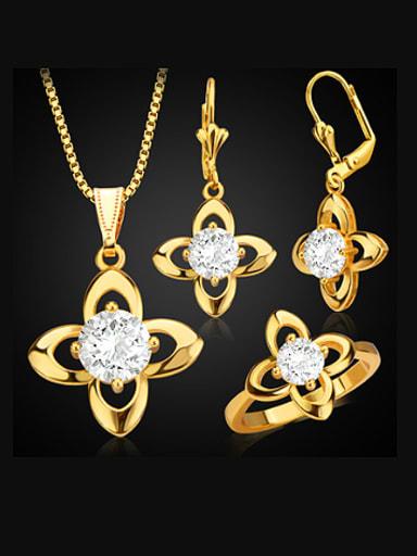 18K Fashion Four-leaf Clover Zircon Three Pieces Jewelry Set