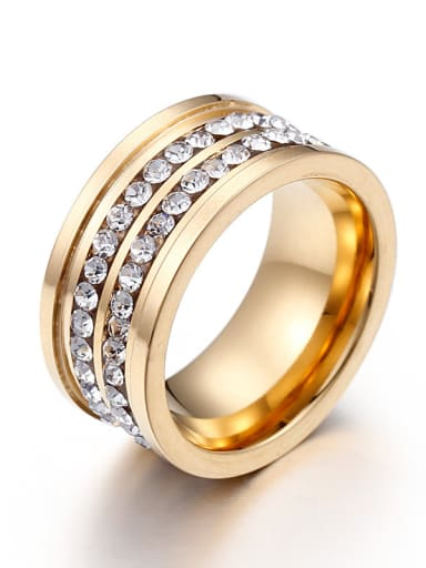 Stainless Steel With Gold Plated Cubic Zirconia Trendy Rings
