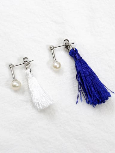 Fashion Chinlon Tassels Freshwater Pearl Silver Stud Earrings