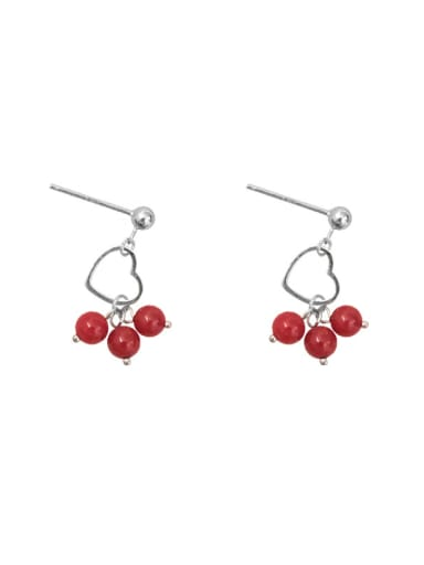 Little Red Beads Silver Earrings