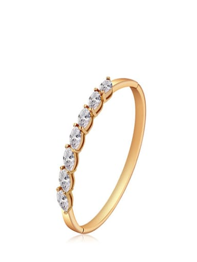 Copper Alloy 18K Gold Plated Fashion Marquise Zircon Bangle
