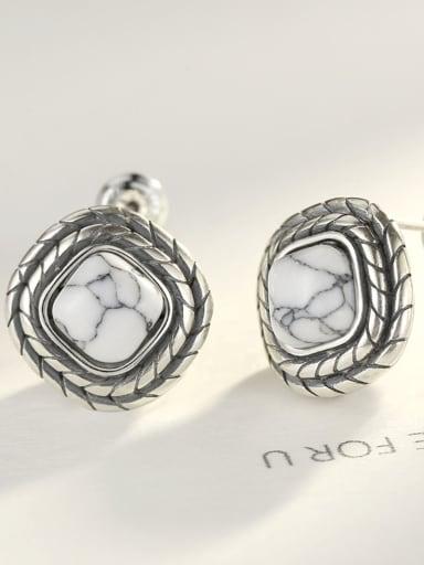 Thai silver retro square white turquoise stud earrings