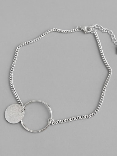 925 Sterling Silver With Glossy Simplistic Round Anklets