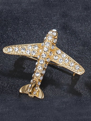 Gold Plated Aircraft Brooch