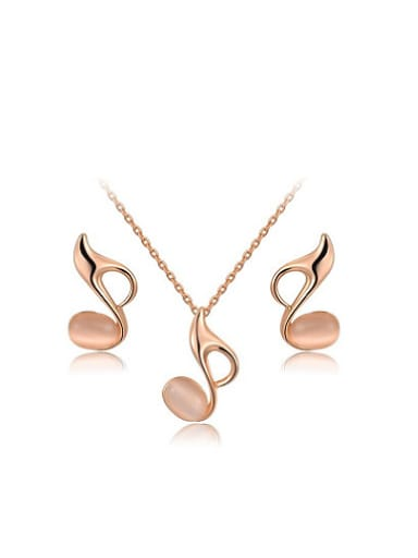 Elegant Note Shaped Opal Two Pieces Jewelry Set