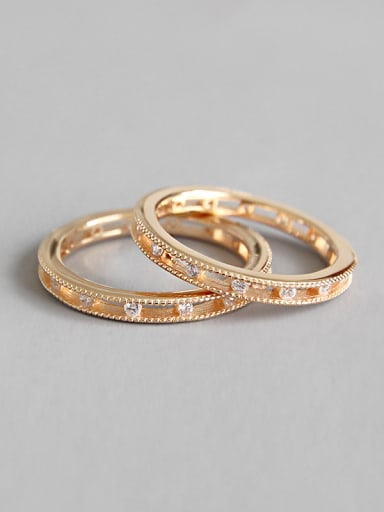925 Sterling Silver With Rose Gold Plated Classic Cubic Zirconia Round Rings