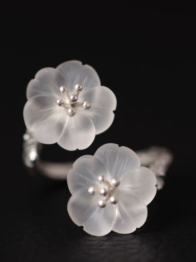 Double Crystal Flowers Opening Ring