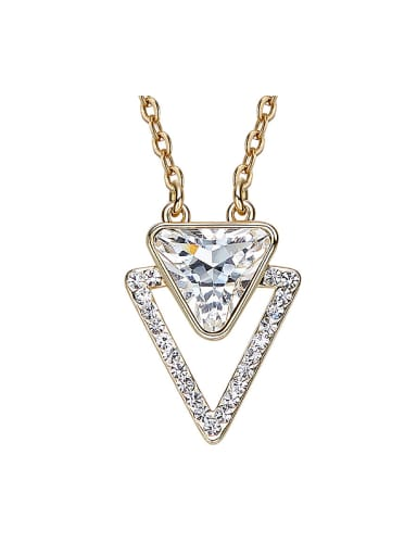 Simple Swarovski Crystal Triangle Gold Plated Necklace