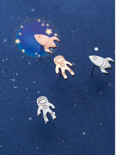 925 Sterling Silver With Silver Plated Cute Asymmetric Astronaut rocket Stud Earrings