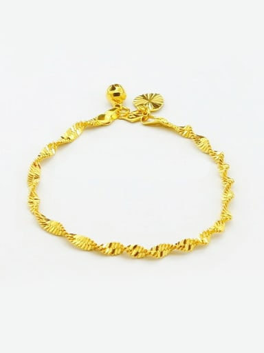 Creative 24K Gold Plated Wave Design Copper Bracelet