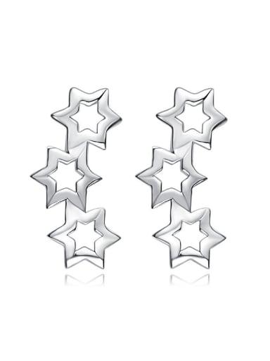 Tiny Hollow Stars 925 Silver Stud Earrings