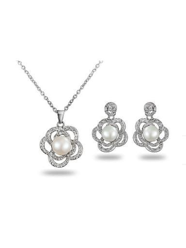 All-match Platinum Plated Flower Artificial Pearl Two Pieces Jewelry Set