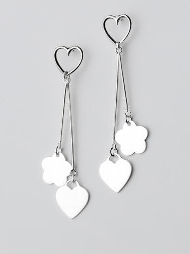 Temperament Heart Shaped S925 Silver Drop Earrings