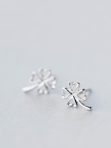 S925 Silver Fresh Sweet Clover Stud cuff earring