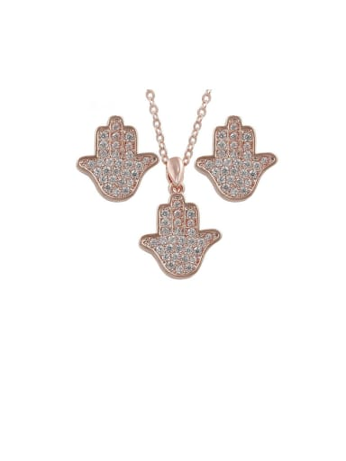 Copper With Cubic Zirconia Personality Palm Earrings And Necklaces  2 Piece Jewelry Set