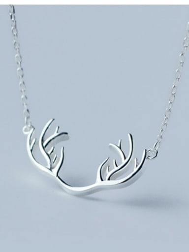 Christmas jewelry: Sterling silver elk antler necklace