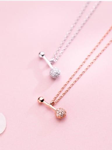 Sterling silver micro-inlaid zircon bone clavicle chain necklace