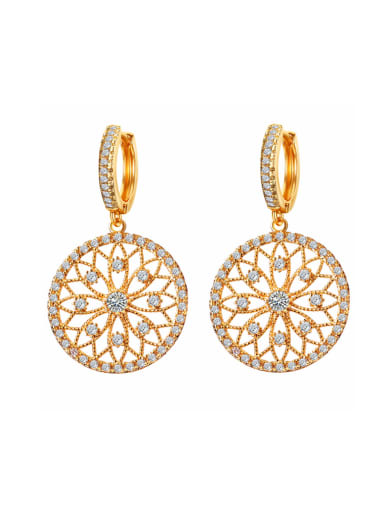 Retro micro-inlaid zircon hollow carved disc earrings