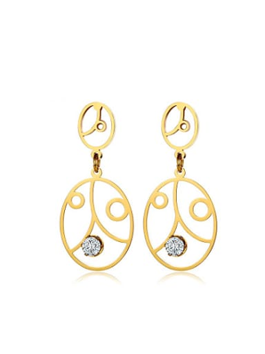 Personality Mask Shaped Gold Plated Zircon Drop Earrings