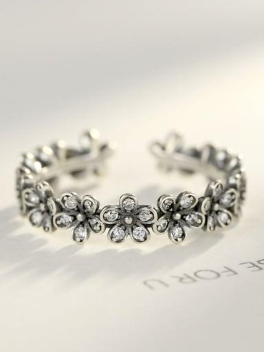 Sterling silver old vintage flower  adjustable ring