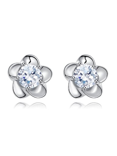 Tiny Flower Cubic Zircon 925 Silver Stud Earrings