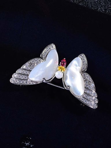Copper With Shell Fashion Butterfly Brooches