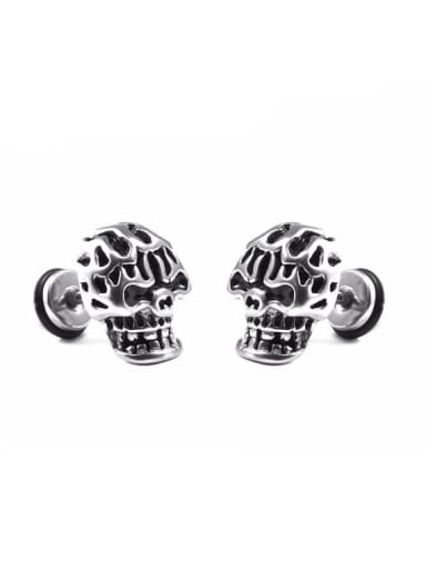 Stainless Steel With Antique Silver Plated Personality Skull Stud Earrings