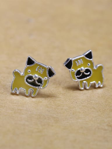 Tiny Yellow Puppy Dog Glue 925 Silver Stud Earrings