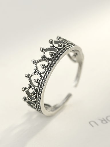 Sterling Silver Vintage crown lace  free size ring