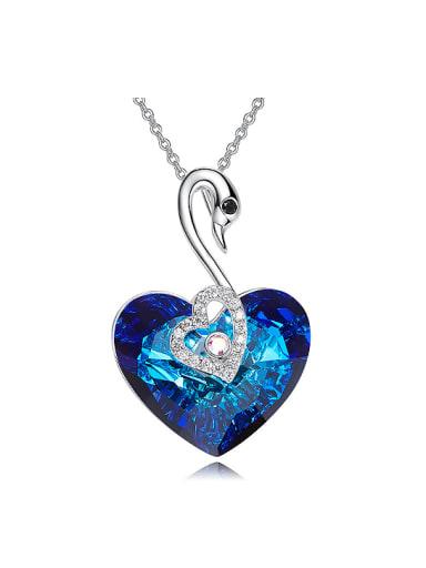 Fashion Heart Swarovski Crystal Swan Pendant Copper Necklace