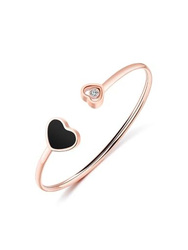 Simple Heart Rhinestone Rose Gold Plated Opening Bangle