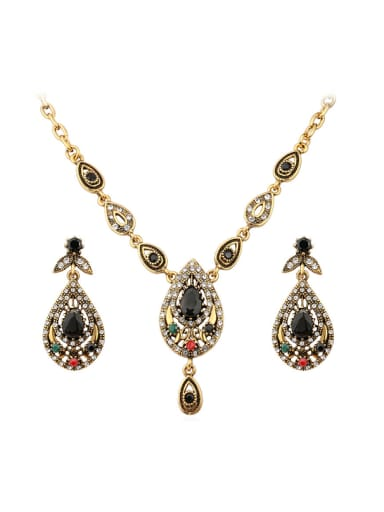 Retro style Resin stones Water Drop shaped Alloy Two Pieces Jewelry Set