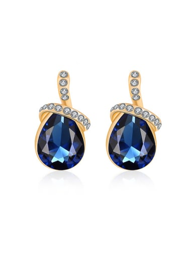 Blue Water Drop Shaped Glass Stone Stud Earrings